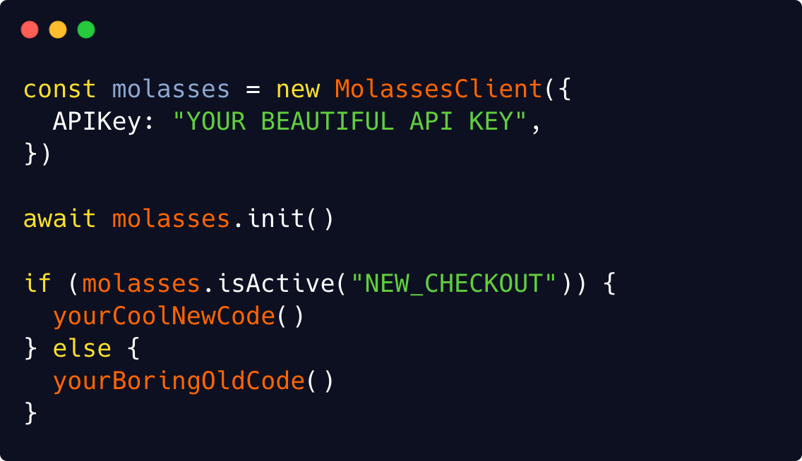 Example code of the Molasses Javascript Client.